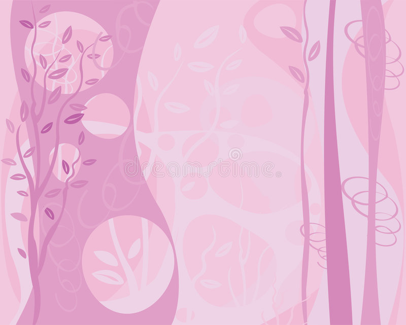 Pink Trees and Swirls Background royalty free illustration