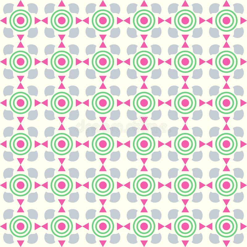 Pink Triangle and Circle and Curve Cup Pattern on Pastel Background royalty free illustration