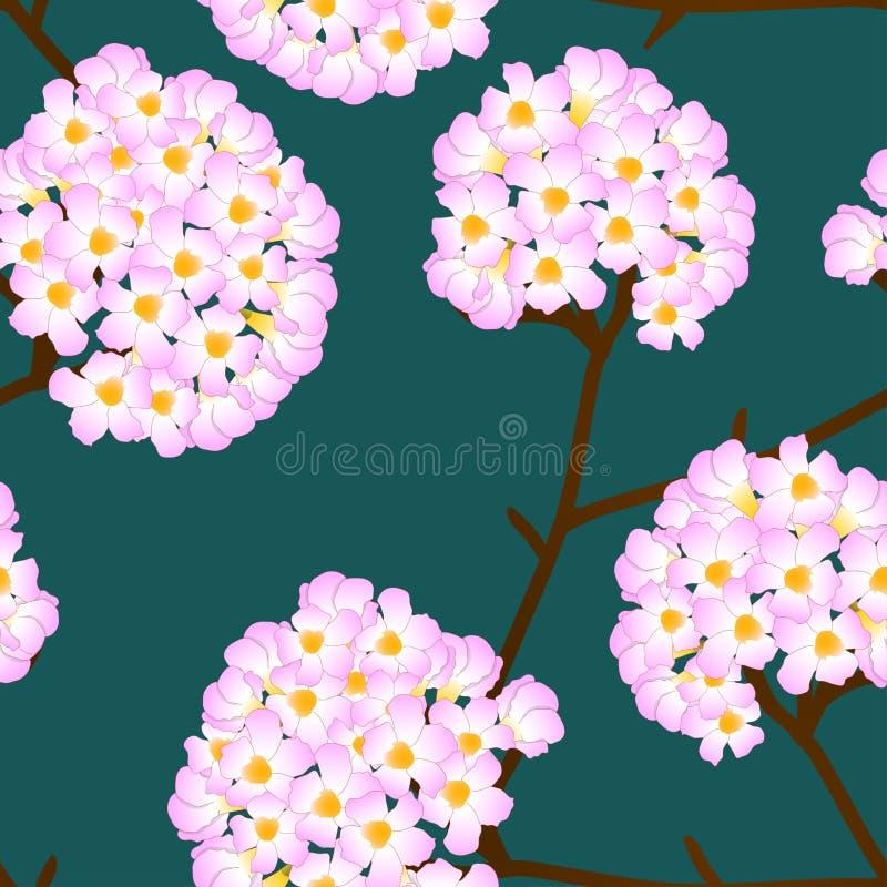 Pink Trumpet Flower on Green Background. Vector Illustration stock illustration
