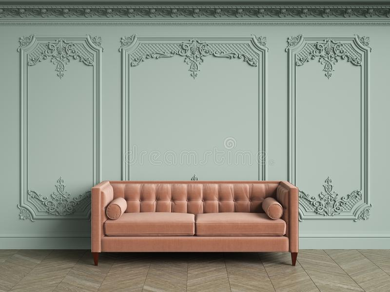 Pink tufted sofa in classic vintage interior with copy space. Pale olive walls with moldings and decorated cornice. Floor parquet herringbone.Digital royalty free illustration