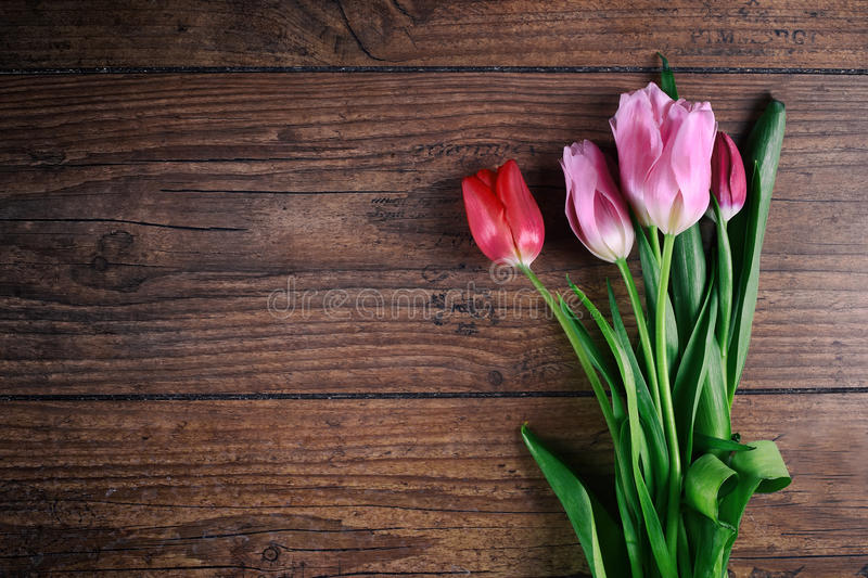 Pink Tulip Flowers on rustic table for March 8, International Womens Day, Birthday, Valentines Day or Mothers day - Top. Pink Tulip Flowers on rustic table for royalty free stock photo