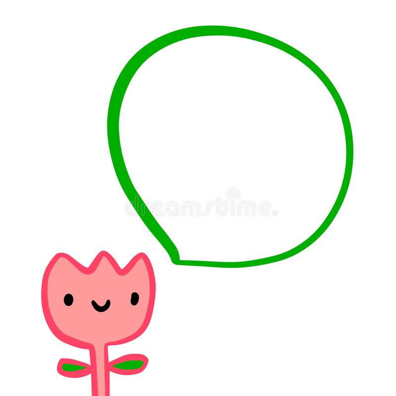 Pink tulip smiling and speech bubble hand drawn illustration in cartoon style stock illustration