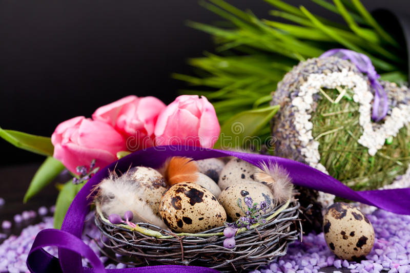 Download Pink Tulips And Brown Eggs With Purple Ribbon Easter Decoration Royalty Free Stock Photo - Image: 29151605