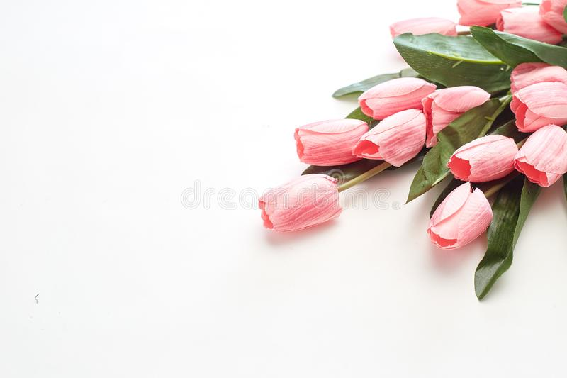 Happy Easter Pink tulips flowers royalty free stock image