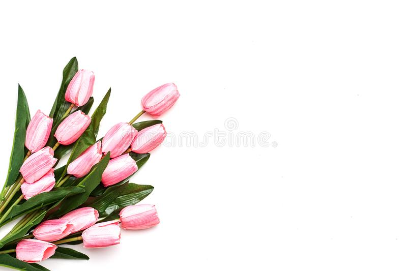 Happy Easter Pink tulips flowers stock image