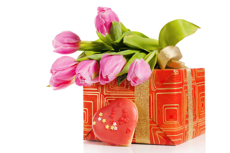 Download Pink tulips and gift box stock image. Image of birthday - 23494839