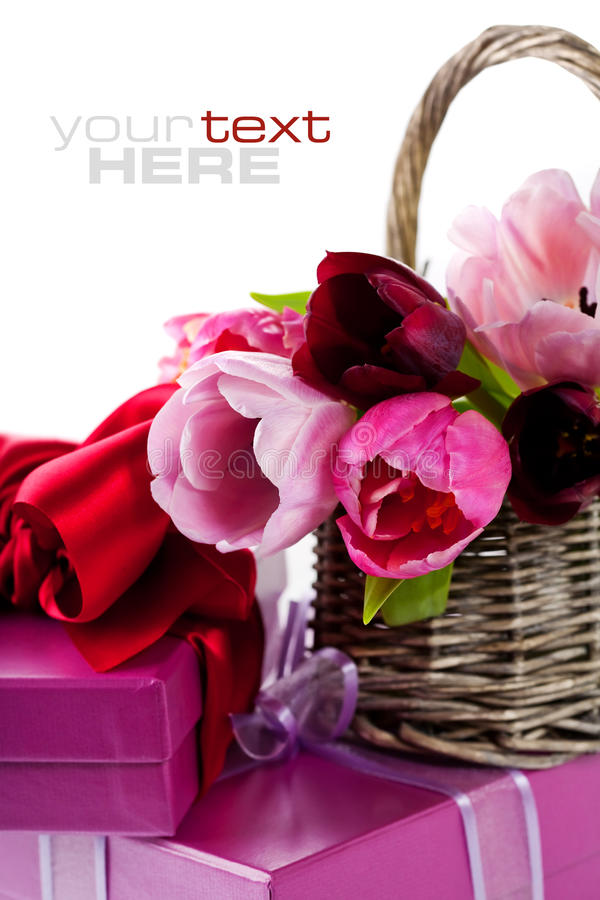 Pink tulips and gift boxes stock photo