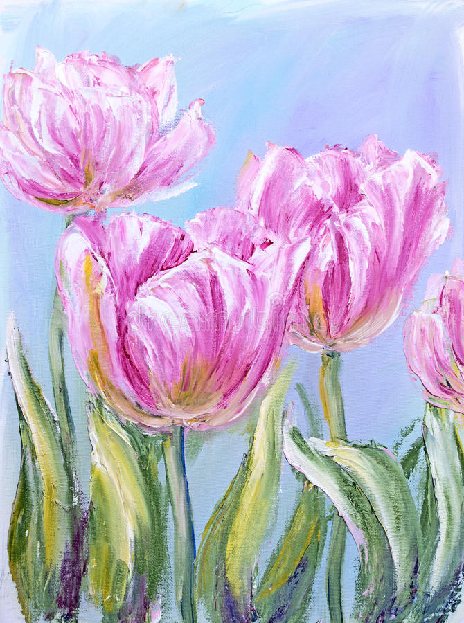 Pink tulips, oil painting stock illustration
