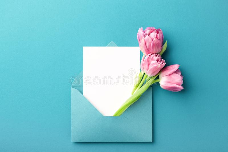 Pink tulips and white card in envelope. royalty free stock photography