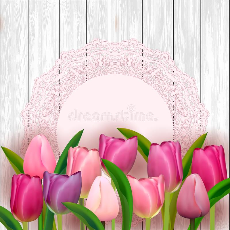 Pink tulips on white table. Feminine illustration for women`s day. Vector. Pink tulips on white table. Feminine illustration for women`s day. Top view. Copy royalty free illustration