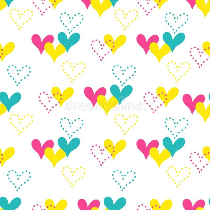 Colorful hand drawn hearts seamless vector pattern. royalty free illustration
