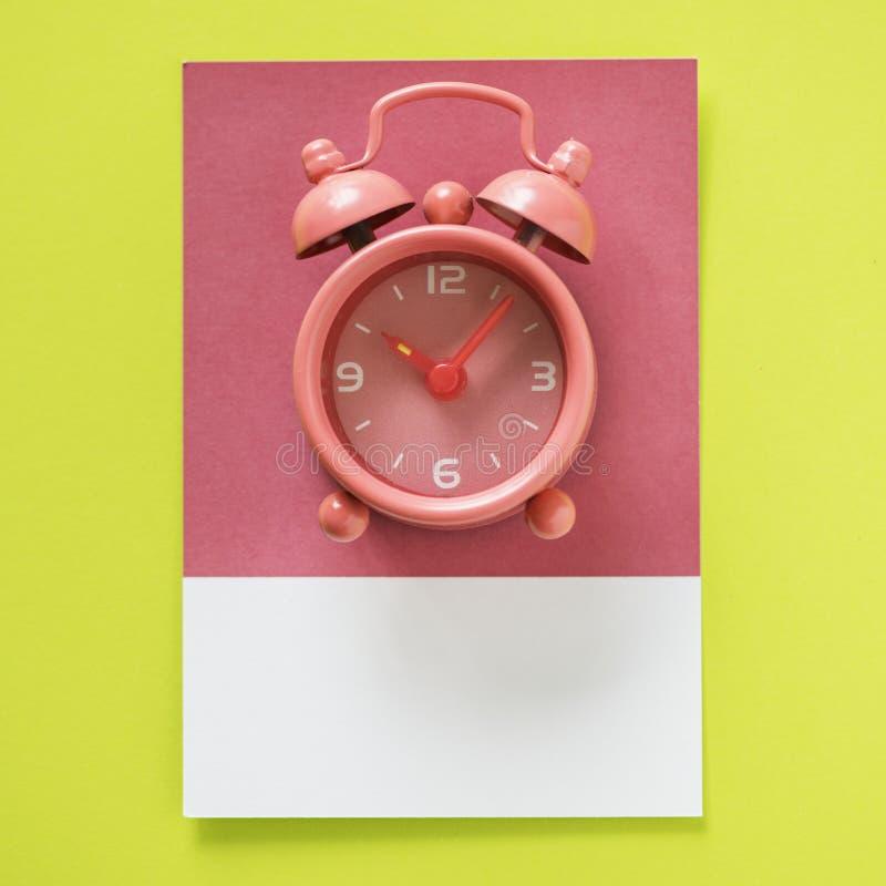 Pink Twin Bell Alarm Clock at 10:06 royalty free stock photos