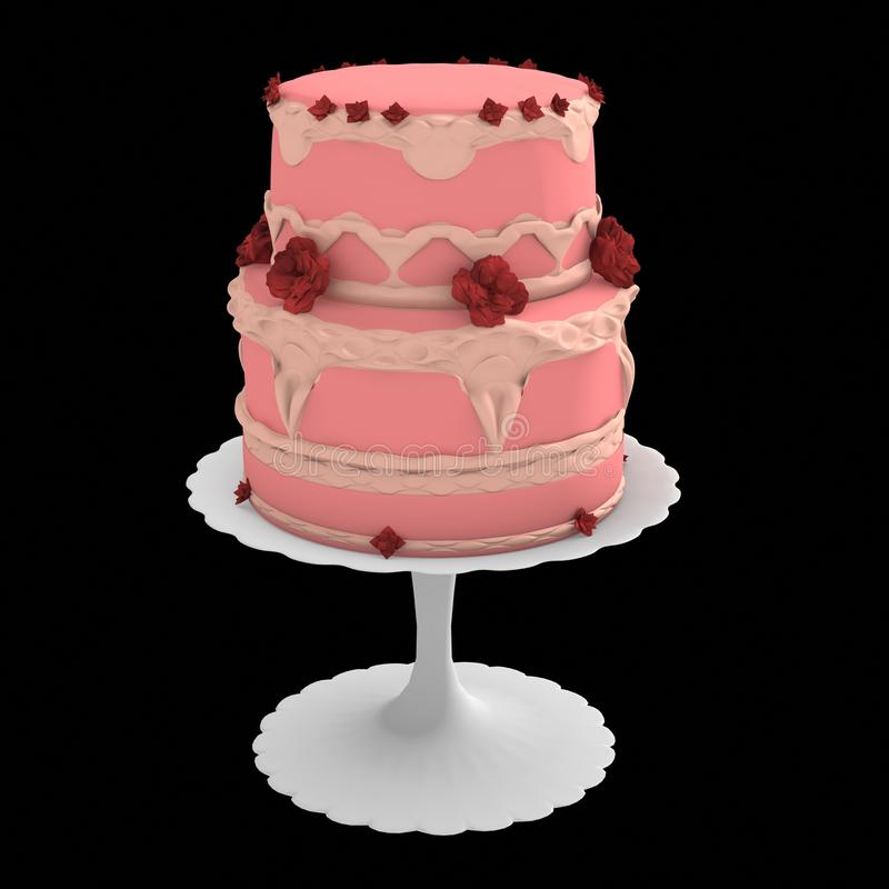 Pink two layer cake - 3d computer generated stock illustration