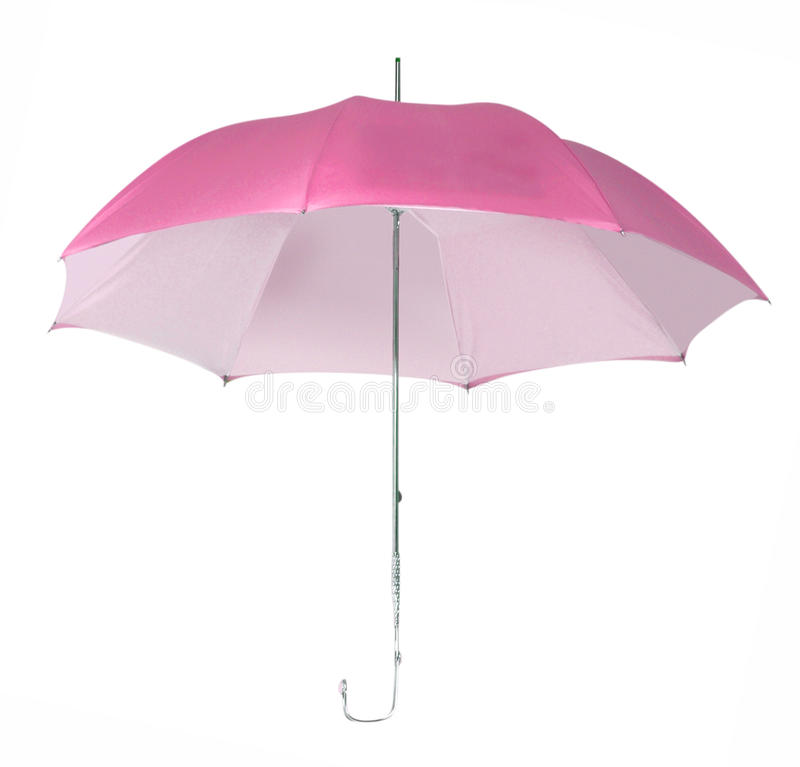 Pink umbrella. Isolated on white royalty free stock images