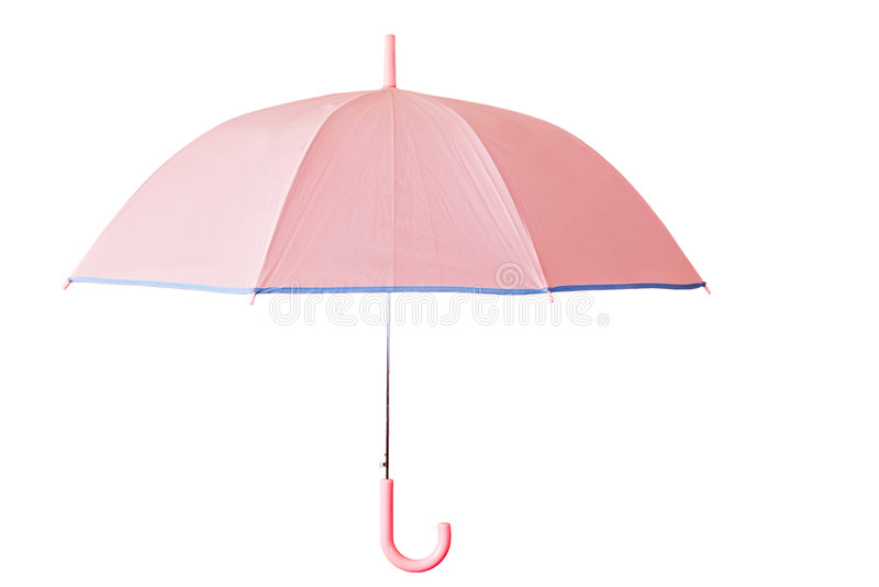Pink umbrella. Isolated with clipping path stock images