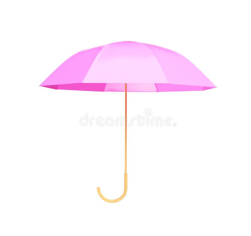 Pink umbrella concept rendered isolated 3d render.  stock illustration