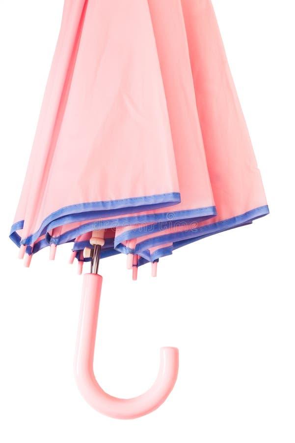 Pink umbrella detail. Detail of pink umbrella on white royalty free stock photo