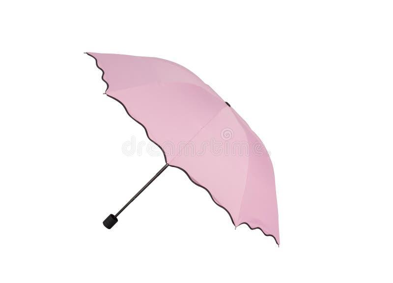 Pink umbrella isolated on white. Background stock photos