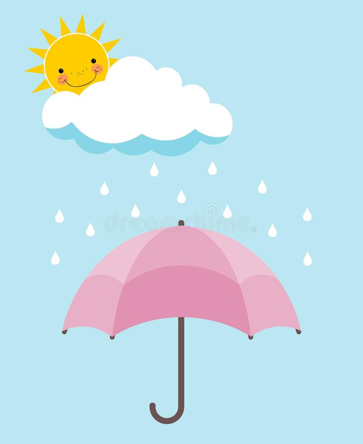 Pink umbrella, smiling sun, cloud and rain over pale blue background stock illustration