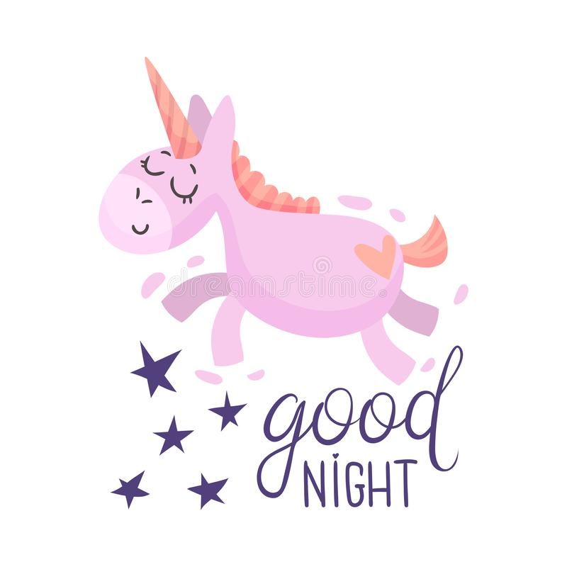 Pink unicorn flies in a dream. Vector illustration on a white background. Pink unicorn flies in a dream among the stars. Lettering Good night. Vector vector illustration