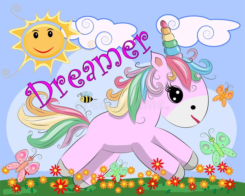 Pink unicorn on a meadow with flowers, rainbow, sun. Child illustration, fairy-tale character, dreamer vector illustration