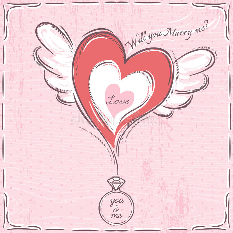 Pink valentine card with heart and engagement ring royalty free stock photos