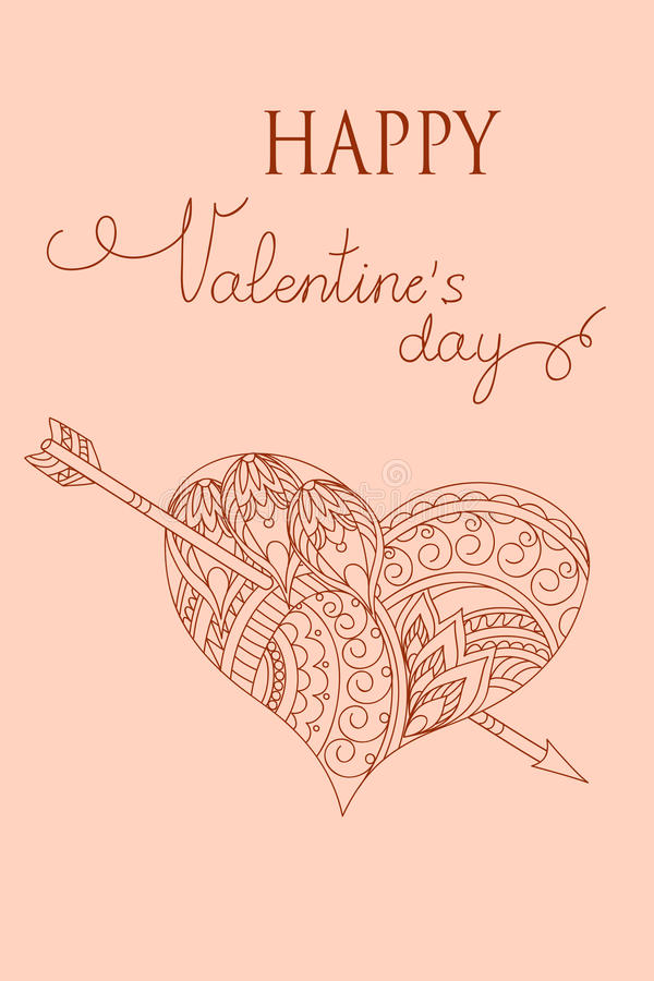 Pink Valentine card with heart royalty free illustration