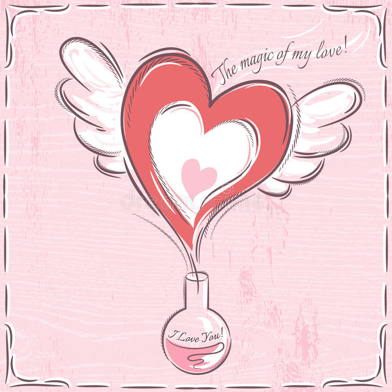 Pink valentine card with heart stock photos