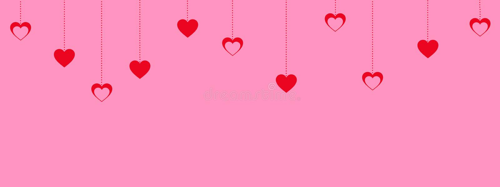 Pink valentine`s day background with hanging red hearts.  stock illustration