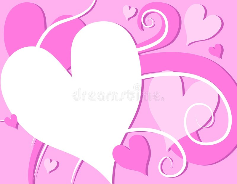 Pink Valentine's Day Hearts Swirls. A background illustration featuring a variety of Valentine's Day decorative hearts and swirls in white and pink colors vector illustration