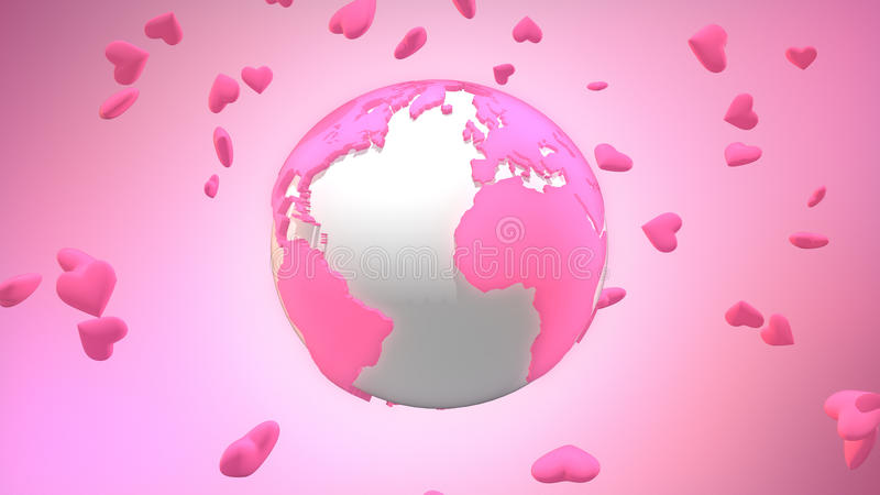 Pink valentine world surrounded by floating heart symbols. Computer generated planet Earth surrounded by heart shapes to celebrate Valentine`s Day around the stock illustration