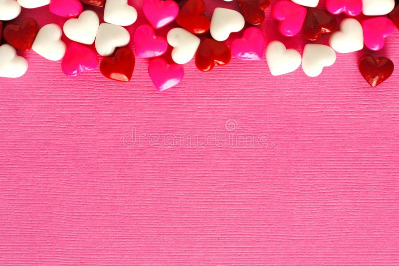 Pink Valentines Day Background With Candy Border Stock Image ...