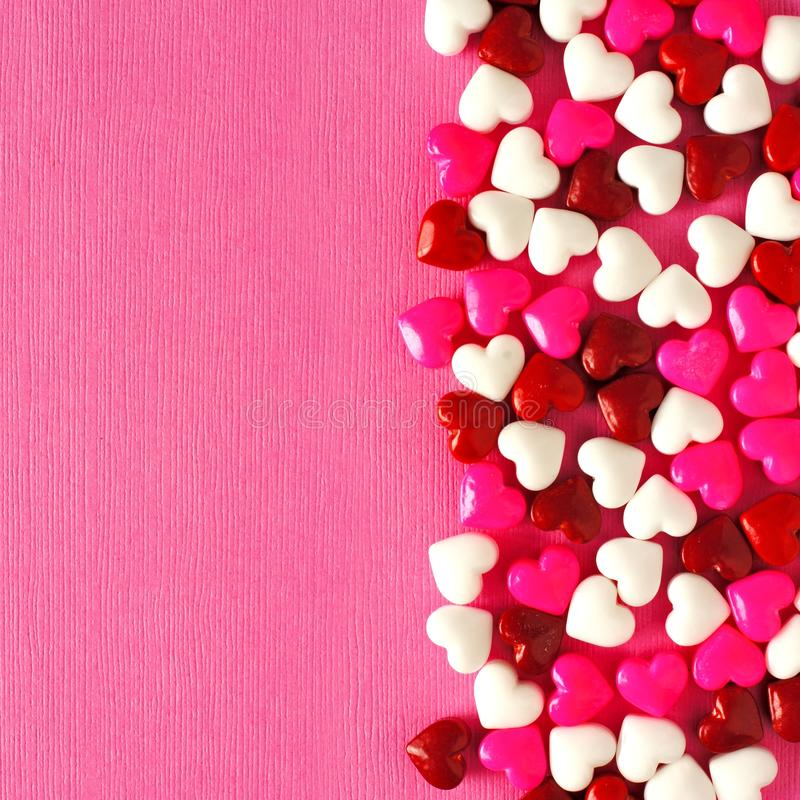Pink Valentines Day Background With Candy Hearts Stock Photo ...