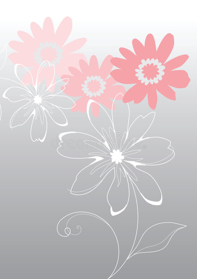 Pink vector flowers royalty free illustration