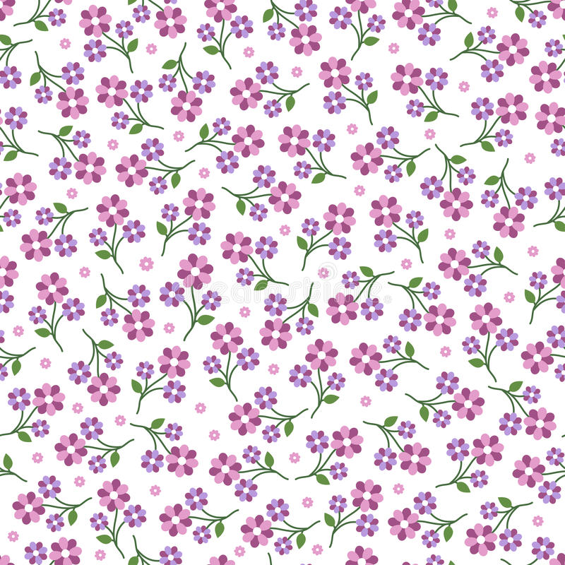 Pink vector flowers seamless pattern stock photos