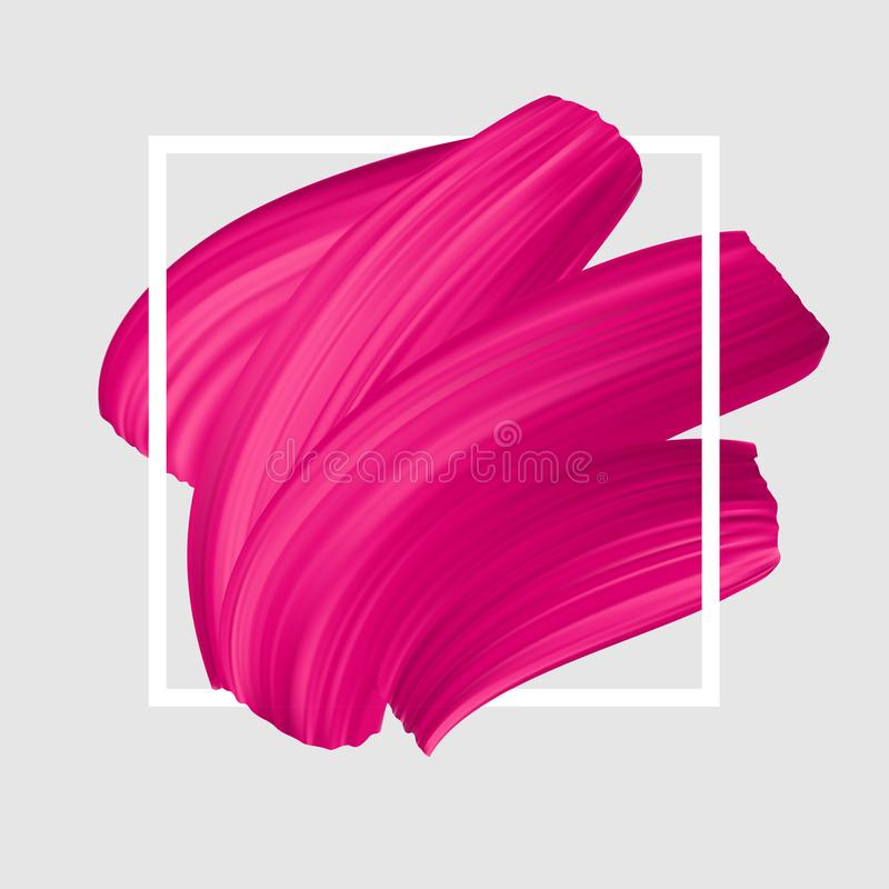 Pink vector lipstick smear. Female girly logo. Paint brush stroke in frame, banner template. royalty free illustration