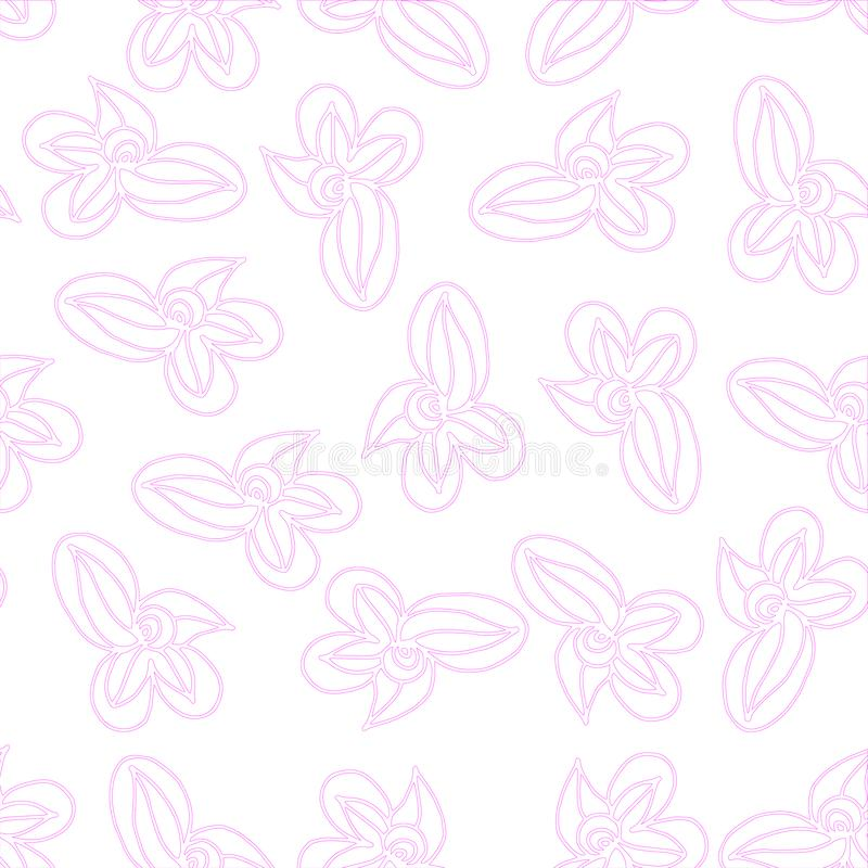 Pink vector outline elements make up the pattern on a seamless background vector illustration