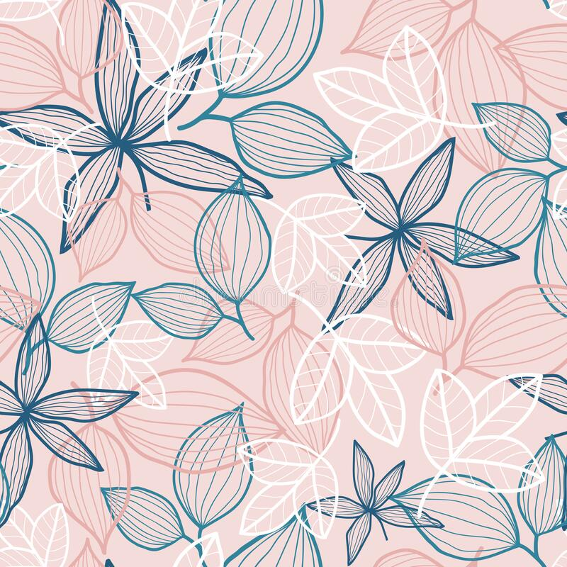 Pink vector pattern with colorful fallen leaves stock photography