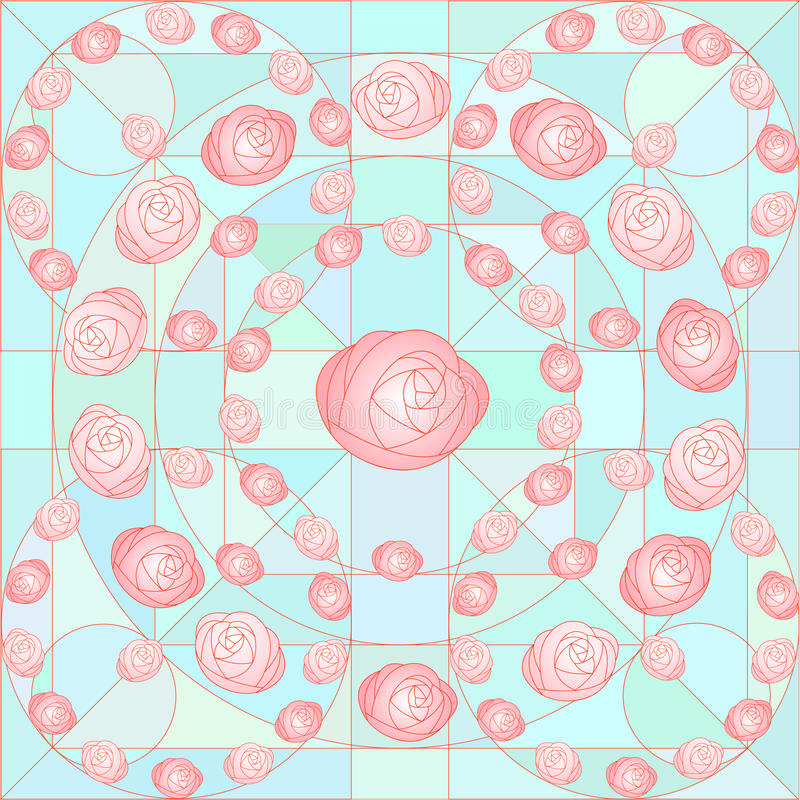 Pink. Vector pattern in the form of a mosaic of pink roses and green gradation. It can be used for textiles, wrappers, and other ceramics design royalty free illustration