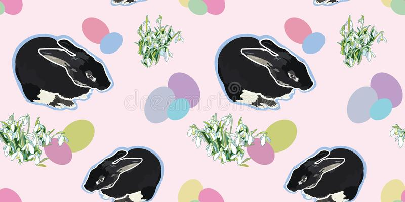 Pink pattern with rabbit and snowdrop. vector illustration