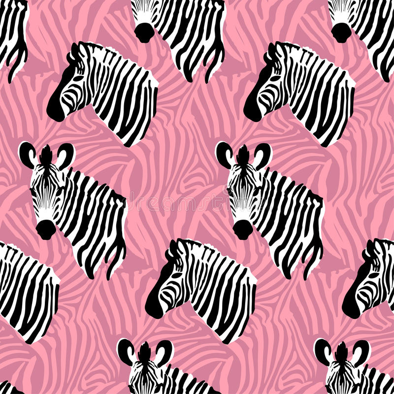 Pink vector seamless pattern texture with zebra stripes stock illustration
