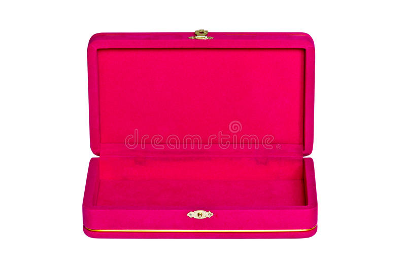 Pink velvet box isolated. On white background royalty free stock images