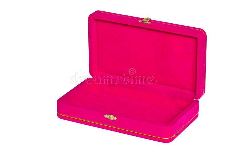 Pink velvet box isolated on white. Background royalty free stock images
