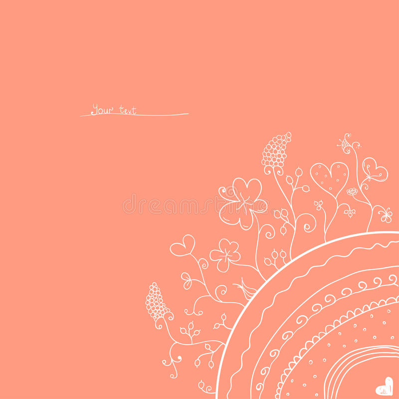 Pink vintage card. With plants royalty free illustration