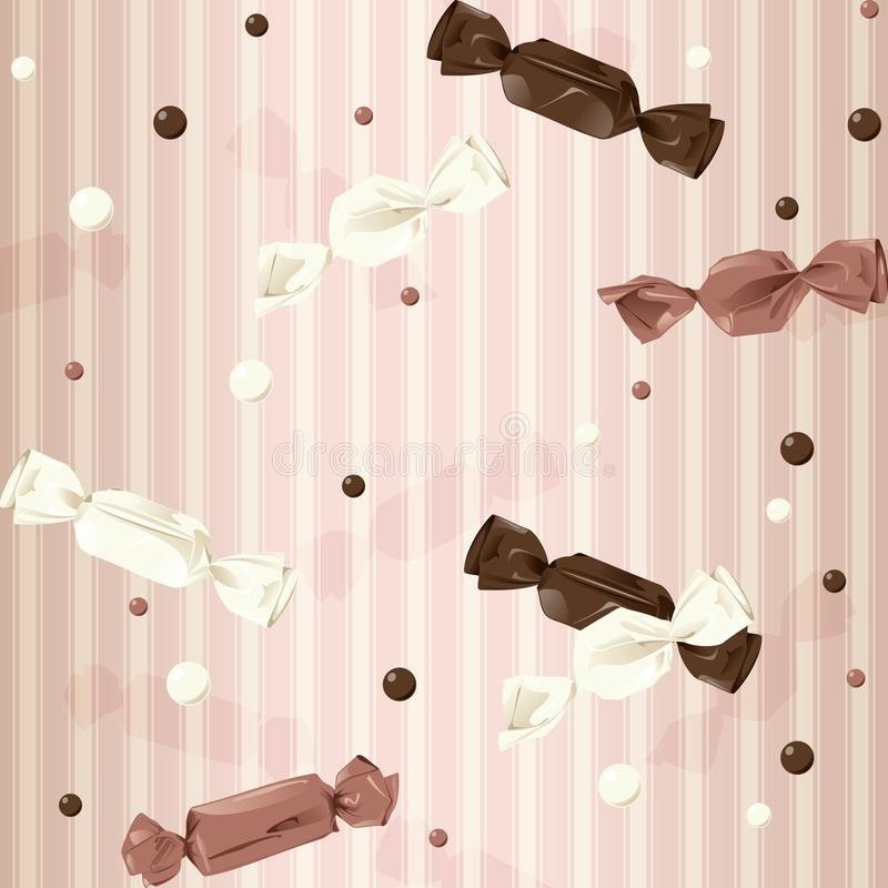 Pink vintage seamless background with candy. Vintage seamless pattern with wrapped candy and dots. The tiles can be combined seamlessly. Graphics are grouped and stock illustration