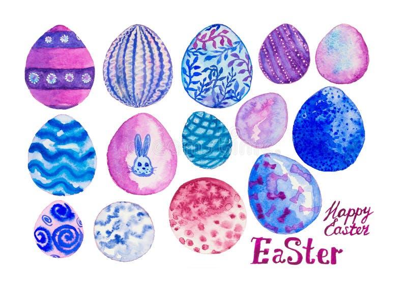 Pink, violet and blue Easter eggs. vector illustration
