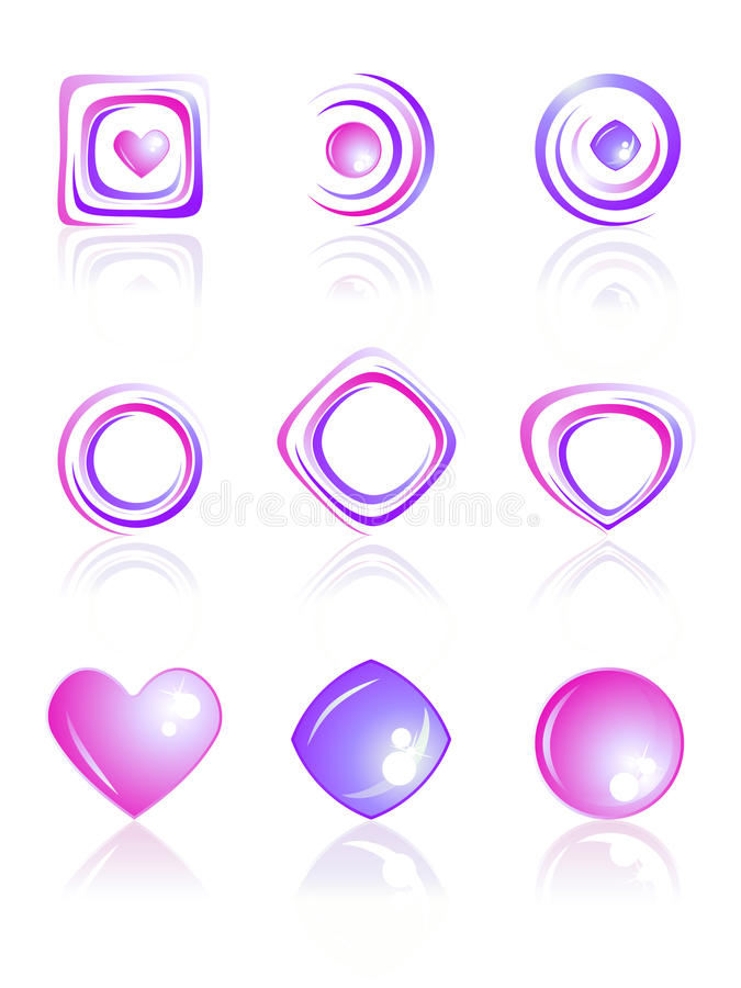 Download Pink And Violet Colors Logos Set. Stock Vector - Image: 23205314