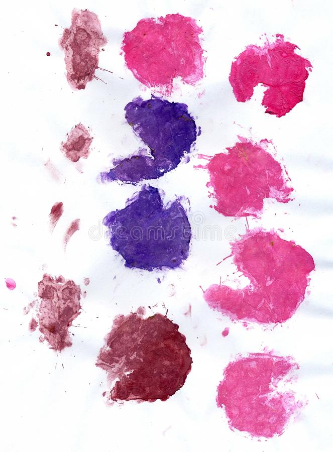 Pink and Violet Paint. Abstract painted background from pink and violet splatters and spots stock image