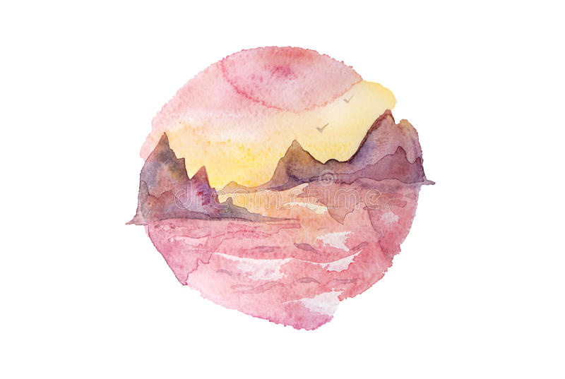 Pink, violet and yellow sunset over the sea with rocks. Watercolor painting isolated on white vector illustration