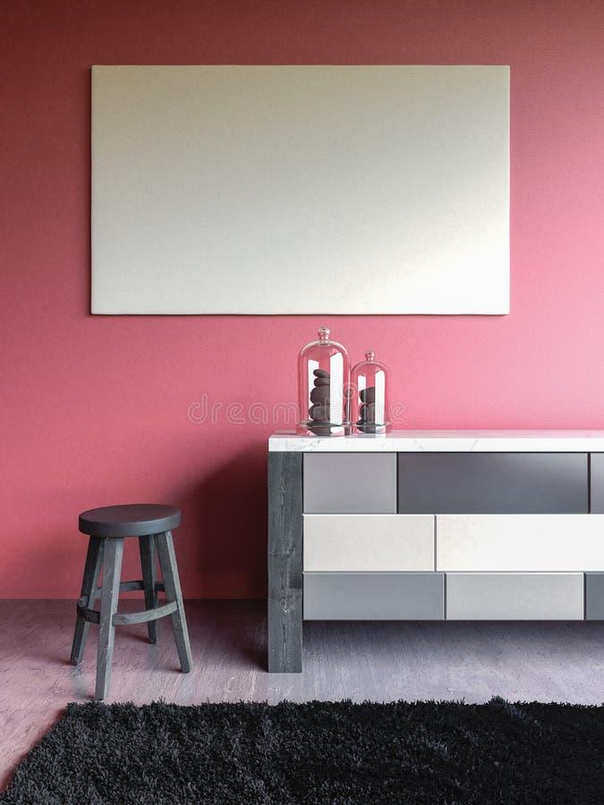 Pink wall interior mock up 3d render stock image